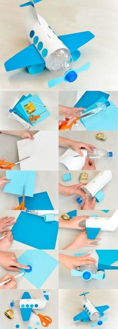 Aircraft Construction from Pet Bottle - Basteln - Diy Crafts For Kids, Projects For Kids, Easy Crafts, Arts And Crafts, Paper Crafts, Plastic Bottle Crafts, Pet Bottle, Craft Activities, Airplane Activities