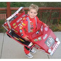 Race car driver Halloween costume complete with sponsored car...