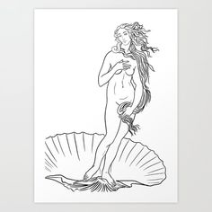 The birth of Venus line art Art Print by Viktorius Art - X-Small Small Tattoos, Cool Tattoos, Venus Tattoo, Tattoo Line, The Birth Of Venus, Art Plastique, Art Inspo, Line Art, Coloring Pages