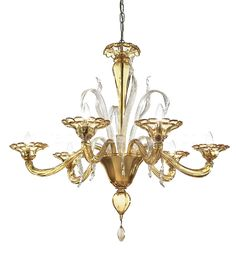 Modern chandelier in amber color