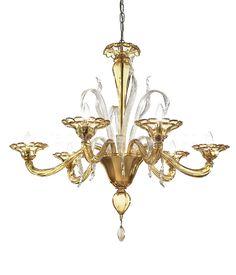 Modern chandelier in amber color
