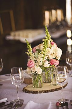 Wedding Centerpieces With Wood Slab