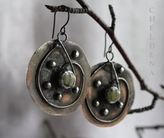 SALE Czech Green Stone and Tin Earrings  Unique by cheldena, $18.00