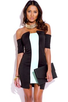 07bc6d719f Black And Mint Green Bodycon Dress - vpstyles  woman  womanfashion   vpstyles  cheapdresses