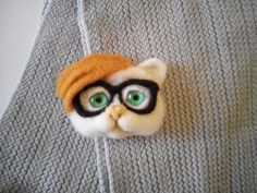felt brooch kitten hipster spectacled handmade by FeltPositive