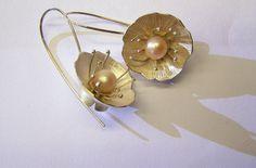 handmade earrings, silver, pearl