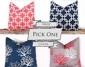 SALE ENDS SOON Navy and Coral Handmade Pillow Cases, Navy Throw Pillows, Designer Cotton Pillow Cases, Sofa Cushion Cover, 18 x 18