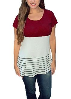 2f634ac43 DREAGAL Casual Cotton Color Block Short Sleeves Raglan Tshirts Tunic Tops *  Details can be found