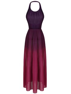 Shop Purple Halter Fade Ruched Backless Maxi Dress from choies.com .Free shipping Worldwide.$27.89