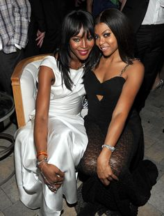 "Naomi Campbell and ""Empire"" star Taraji P. Henson hang out at the Fox Emmy's after-party on Sept. 20, 2015."