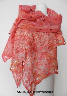 felted scarf shawl ROSE handmade cobweb free by kantorysinska, $115.00