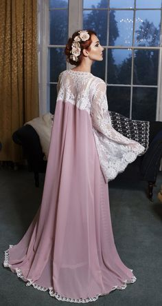 Bridal robe chiffon vintage pink ivory Chantilly lace by Boudemia