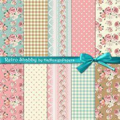 Shabby digital paper : Retro Shabby roses by HajDesignPapers