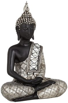 Black and Silver Sitting Buddha Sculpture -