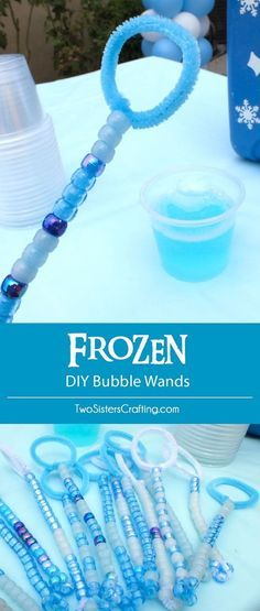 We made these DIY Bubble Wands with pipe cleaners and plastic beads for our Disney Frozen Birthday Party Bubble Station - an easy party craft with a big impact. They make a great Party Favor too! Follow us for more fun Frozen Party Ideas.