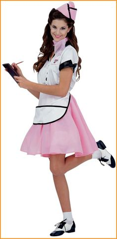 $29 Adult Halloween Costumes 50's Waitress Costume