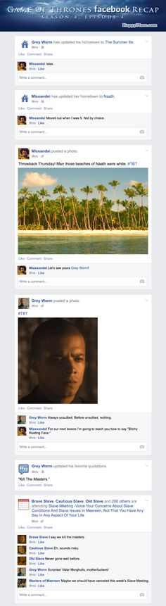 Hilarious! Again :D If Game of Thrones took place entirely on Facebook - Season 4, Episode 4.