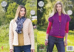 King Cole Chunky Knitting Pattern - Ladies Waistcoat & Jacket (4284) - Mill Outlets