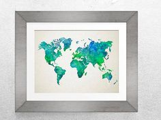 Map Art, Watercolor map, Printable map, Green blue map, Watercolor print, Watercolor print, giant map 30x40""