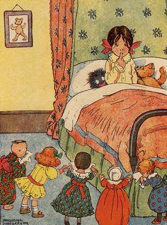 Vintage bedtime illustration--toys banding together to become a crazed mob Vintage Children's Books, Vintage Postcards, Vintage Art, Vintage Pictures, Vintage Images, Munier, Illustrations Vintage, Little Doll, Children's Book Illustration