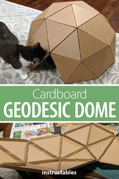 Cardboard Crafts Kids, Cardboard Art, Cardboard Furniture, Cat Furniture, Origami, Broderie Simple, Geodesic Dome, Cat Toys, Crazy Cats