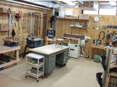 Woodworking Equipment 50 shop plans woodworking ideas Simple Woodworking Shop Designs For Basement Spaces Small Woodworking Shop Ideas, Woodworking Shop Layout, Woodworking Projects That Sell, Woodworking Tips, Woodworking Equipment, Woodworking Patterns, Custom Woodworking, Woodworking Jointer, Woodworking Techniques