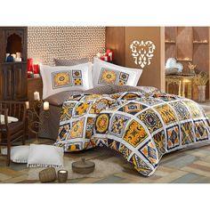 Dose Of Modern Mozaique - Orange Poplin Double Quilt Cover Set - White Orange Dark Blue Mustard Double Quilt, Single Quilt, Quilt Cover Sets, Yellow Black, Dark Blue, Poplin, Comforters, Duvet Covers, Pillow Cases