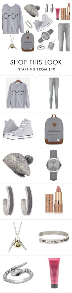 """""""Grey Sweatshirt *_*"""" by basmahahmed ❤ liked on Polyvore featuring 7 For All Mankind, Converse, Herschel Supply Co., Pistil, Burberry, Erica Lyons, tarte, Quiksilver, Warner Bros. and Blu Bijoux"""