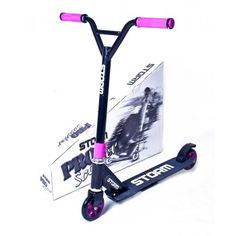 This is the Purple Yeh-bar Storm Stunt Scooter. The best model of the Storm range, this robust model has the advantage of the YEH bar frame.