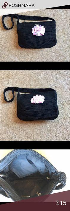 "Pink Flower Sak Bag Very cute Sak bag in black with pink flower. Inside zippered pocket with zippered closure. Excellent condition. Measures 10""x7"" The Sak Bags Shoulder Bags"