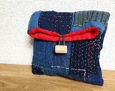 Vintage Japanese Indigo Boro Patched Pouch/ Sashiko Mini Pouch/ Indigo Wallet/ Vintage Kasuri/ Hand Stitched/ Kawaii