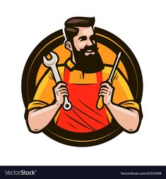 Repair maintenance logo or label repairman holds vector image on VectorStock Rio 2, Honda Unicorn, Car Wash Posters, Dr Logo, Handyman Logo, Maintenance Logo, Car Wash Business, Cartoon Logo, O Gas