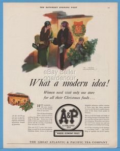 1928 Great Atlantic & Pacific Tea A&P Logo Grocery Store Christmas Food Tree Ad