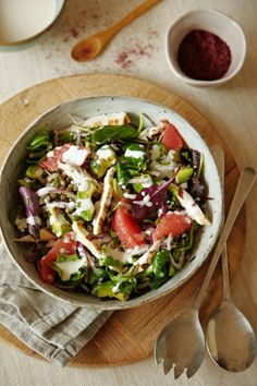 Chicken and Pink Grapefruit Salad with a Rose Water Yoghurt Dressing  | www.foodand.co.uk