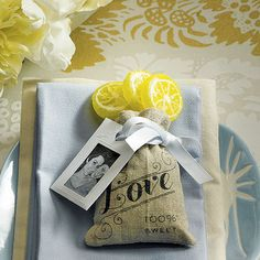 Mini Linen Drawstring Pouch with Vintage Love Print Wedding Favor