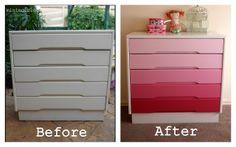 antes e depois, moveis de madeira pintados