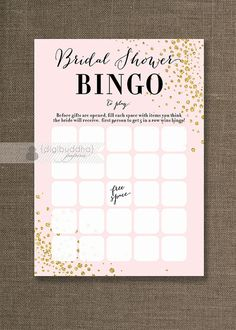 Blush Pink & Gold Glitter Bridal Shower Bingo by digibuddhaPaperie Blush Bridal Showers, Gold Baby Showers, Pink Und Gold, Blush Pink, Bridal Shower Bingo, Bingo Cards, Game Cards, Wedding Games, Bridal Games