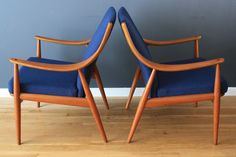 bright blue mid century chairs