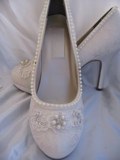 Wedding Shoes Ivory or White Bridal Shoes with Lace by ABiddaBling
