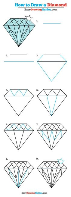 Learn How to Draw a Diamond: Easy Step-by-Step Drawing Tutorial for Kids and Beginners. #diamond #drawing #tutorial. See the full tutorial at https://easydrawingguides.com/how-to-draw-a-diamond-really-easy-drawing-tutorial/