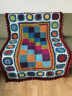 My second blanket made from this pattern, and I'm certain there will be even more. Fun and easy to crochet, and easy to bring along when working on the squares. Crochet Shawl, Knit Crochet, All The Colors, Ravelry, Scrap, Blanket, Knitting, Cravings, Projects