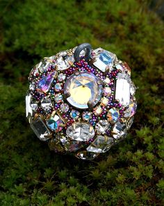 Jeweled Ornament Ball Orb Sphere Vintage Rhinestones Crystals for Home Decor - Crystal and AB - Celebration by ASoulfulJourney on Etsy https://www.etsy.com/listing/269985481/jeweled-ornament-ball-orb-sphere-vintage