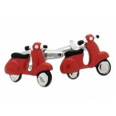 Red Vespa Scooter Italy Cufflinks