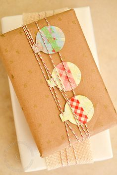 Inexpensive edible holiday gifts and kraft paper gift-wrapping