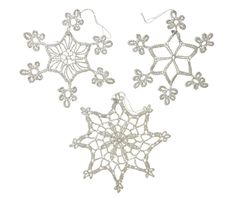 Set of 3 Crochet Snowflake Christmas Tree Decorations White Glittered for sale online Crochet Snowflakes, White Glitter, Christmas Tree Decorations, Christmas Stuff, Ebay, Christmas Things