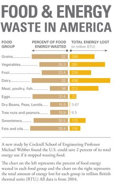 Food waste and energy in America by food group, percent of food energy wasted and total energy lost