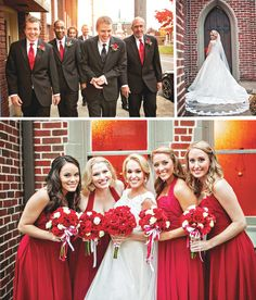 Love these red bridesmaid dresses and bouquets! So chic! View more from this classic Tri-Cities wedding with red colors, photographed by Michael Kaal Photography! | The Pink Bride www.thepinkbride.com