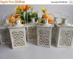 Set of 4 Vintage Moroccan Lantern Brass Lace Effect Wedding Metal