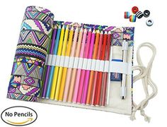 Cre-go Canvas Pencil Wrap, 48 Pencils Holder colored sketching and drawing Pencils Roll Case Multi-purpose Pouch For School Office Art (Bohemian,48)