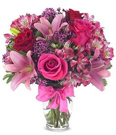 Rose And Lily Celebration Bouquet from Send Flowers! Send a pink roses and lilies bouquet to someone with a bow. Clear glass vase and card message included. Flowers Today, Flowers For You, Flowers Online, Fresh Flowers, Beautiful Flowers, Wax Flowers, Send Flowers, Beautiful Bouquets, Flower Bouquets